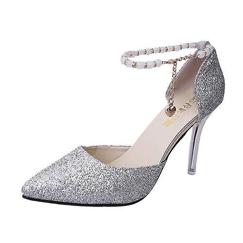 Escarpin à Talon Haut Aiguille Mode Femme Sexy Chaussure Boucle Cheville de Perle