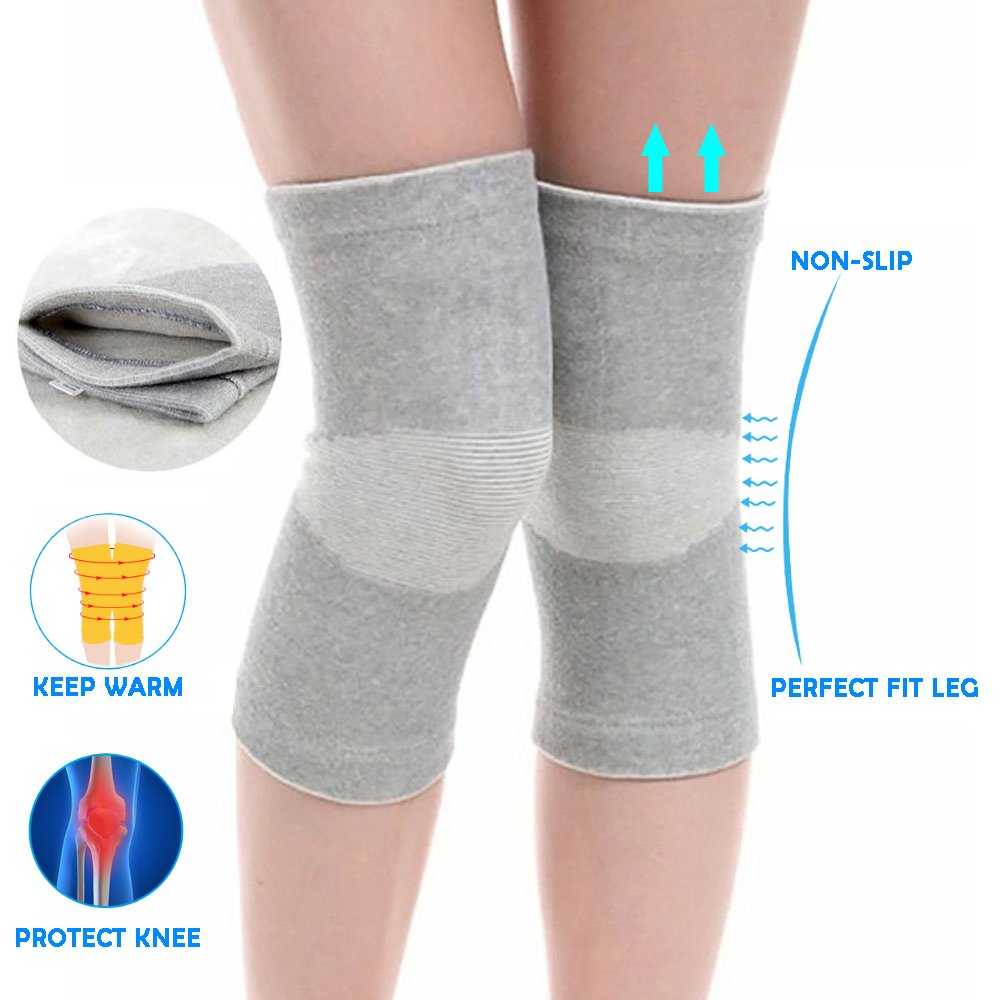 Enshey 1 Pair Knee Sleeve Bamboo Carbon Fiber Protector Compression Tendon Knee Brace Support Knee for Joint Pain & Arthritis Sports Knee Support Sleeves (S)