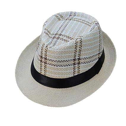 Sannysis Sombrero de Jazz Sombrero de Paja Sombrero Visor de Sol Protección  Solar Verano Playa para 49cb774cb93f