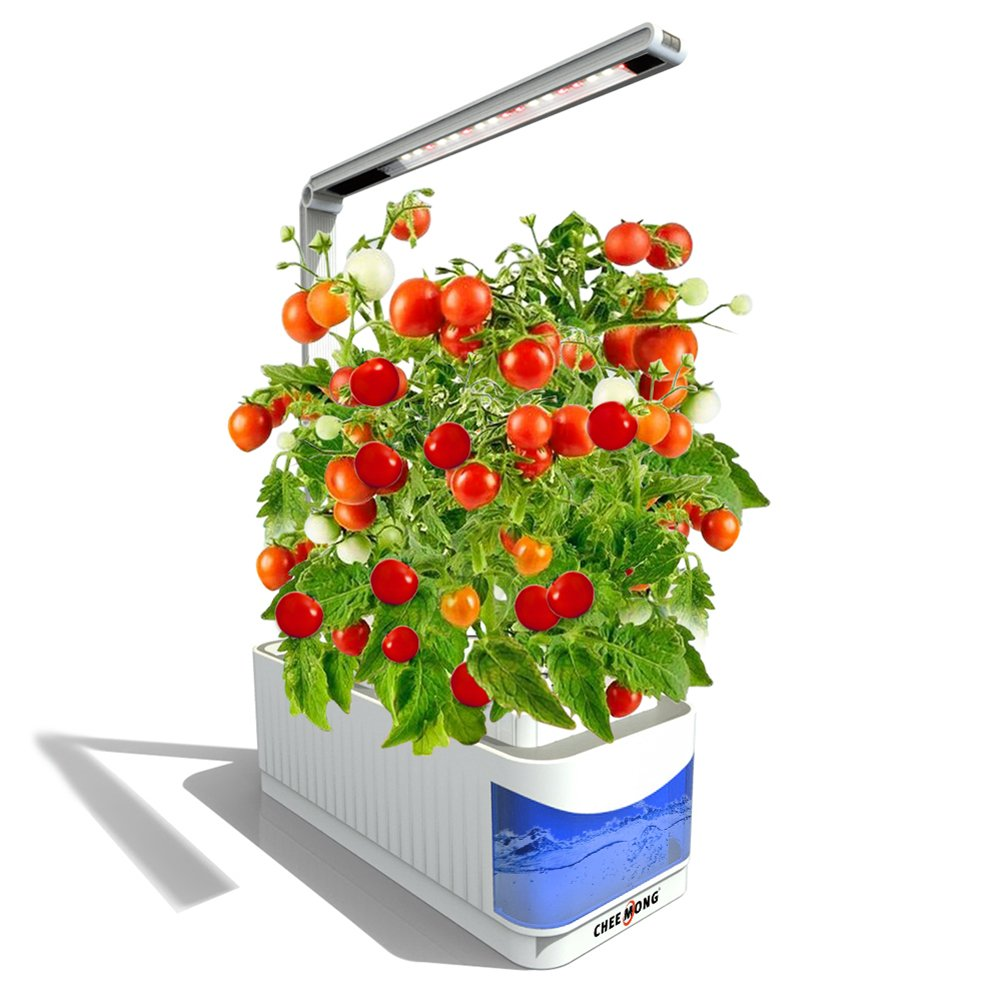 Indoor Hydroponic Herb Garden Kit Lamp, Desk Lamp for Reading, Smart Fresh Herb Garden Hydroponics LED Growing System & Visible Blue Window - Seeds Not Included