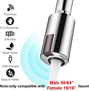 """Smart Touchless Faucet Adapter for Kitchen and Bathroom,Automatic Faucet Adapter Motion Sensor,Compatible With Male 55/56"""" Female 15/16"""",Touchless Kitchen Faucet,Sink Faucet,Economical Faucet by MGDC"""
