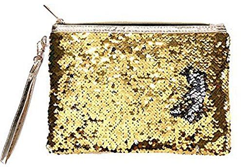 ROOSSI Mermaid Sequins Cosmetic Bag Bling Clutch Handbag Evening Clutch Envelope Bag Zipper Makeup Gold