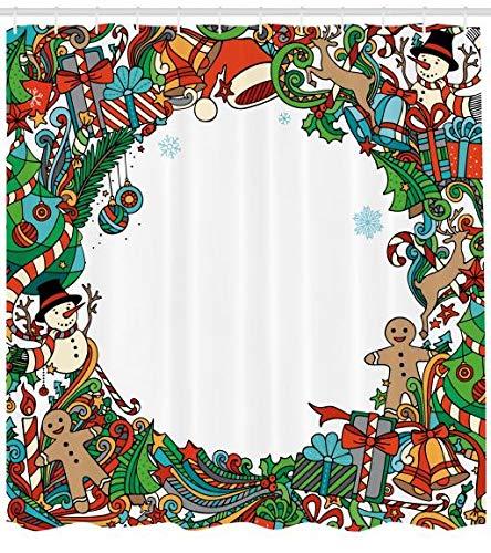 ABAKUHAUS Navidad Cortina de Baño, Símbolos De Vacaciones, Estampa ...