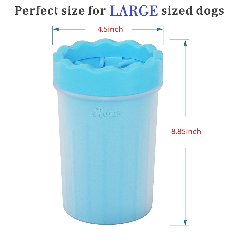 Roysili Large Dog Paw Washer Paw Cleaner Cup, Pet Foot Washer Cup Soft Paw Cleaner Great for Large Dogs Blue