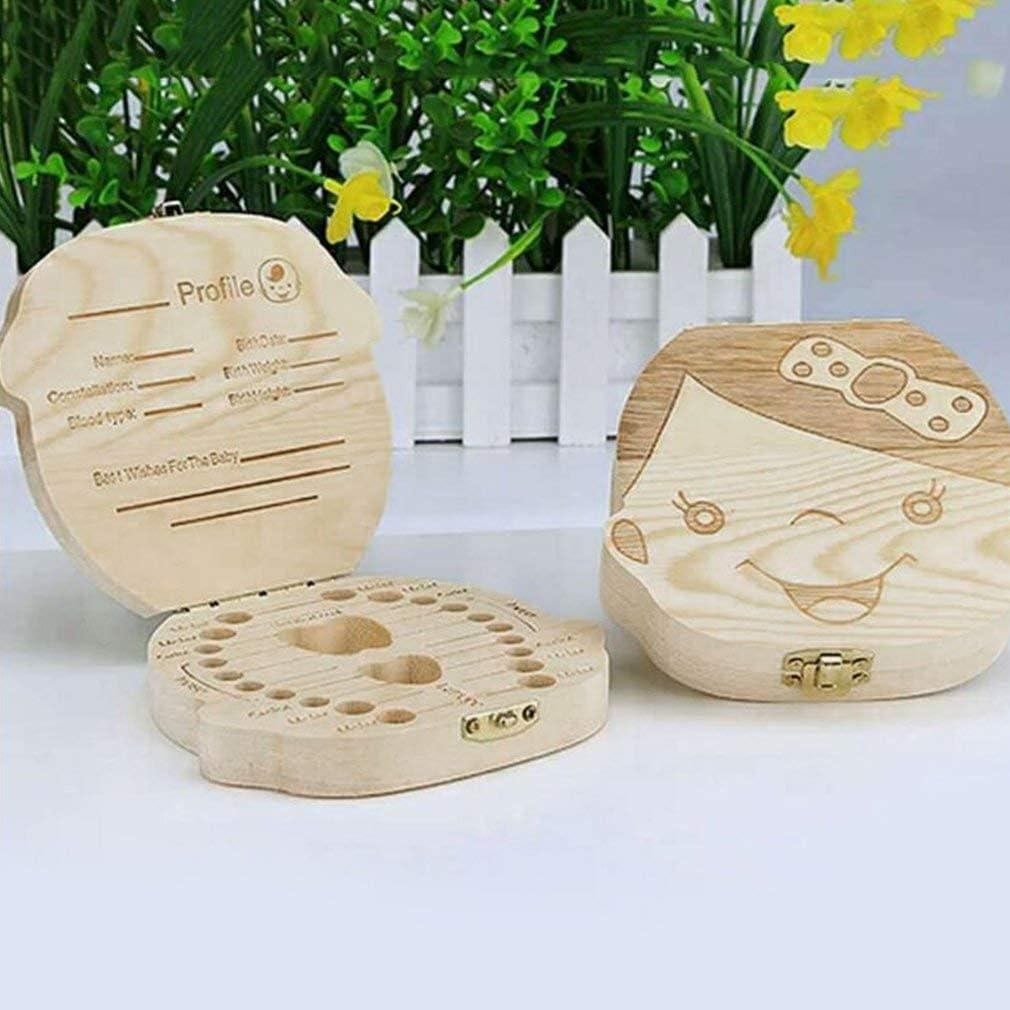 VHNBVHGKGHJ Kreative Baby Z/ähne Box Saver Aufbewahrungsbox Holz Kinder Z/ähne Halter Organisieren Box Holz Junge