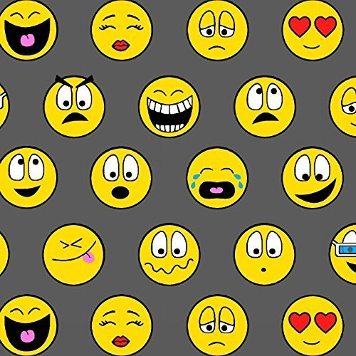 Smiley Face Fabric - Emoticons Gray Yellow Smiley Face Fleece Fabric Print by the Yard o40912-1b