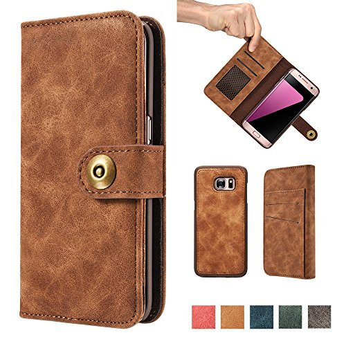 2 in 1 Leather Wallet Flip Cover Case For Samsung Galaxy S7(Brown) - 3