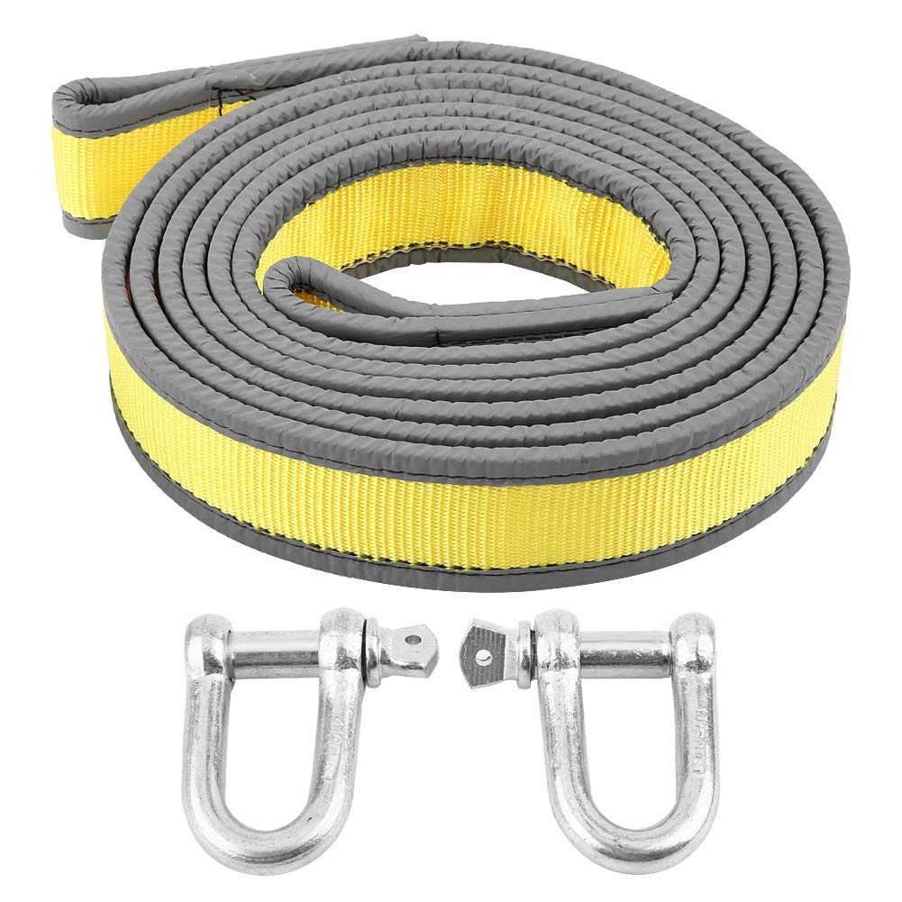 Heavy Duty Towing Belt,Car Trailer Towing Rope Recovery Tow Strap 8 Tons 4 Meters with U-shape Hooks for Car
