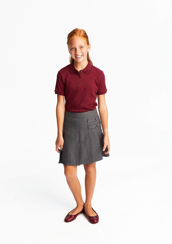 French Toast School Uniform Girls Short Sleeve Interlock Polo w//Picot Collar