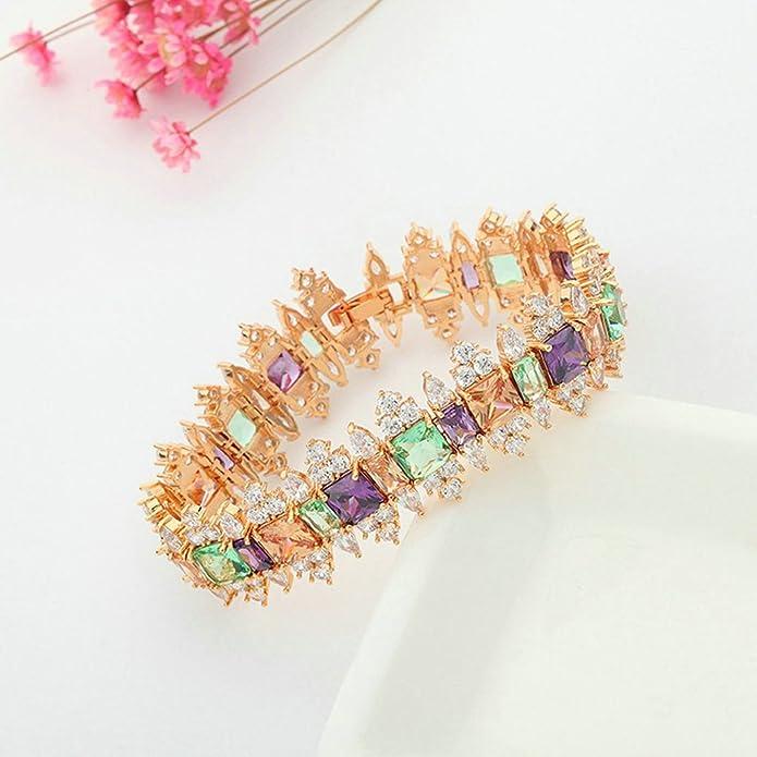 72ad6a43635a AieniD Joyas de Moda Pulsera Mujer Joven Arco Iris Cz Corona 17Cm Brazalete  de Oro para las Mujeres  Aienid  Amazon.es  Joyería
