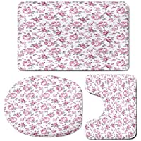 3 Piece Bath Mat Rug Set,Shabby-Chic-Decor,Bathroom Non-Slip Floor Mat,Pink-Roses-with-Grey-Leaves-Bedding-Plants-Spring-Blossoms-Decorative,Pedestal Rug + Lid Toilet Cover + Bath Mat,Light-Pink-White