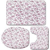 3 Piece Bath Mat Rug Set,Shabby-Chic-Decor,Bathroom Non-Slip Floor Mat,Pink-Roses-with-Grey-Leaves-Bedding-Plants-Spring-Blossoms-Decorative,Pedestal Rug + Lid Toilet Cover + Bath Mat,Light-Pink-White