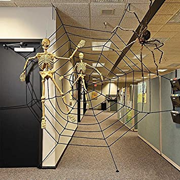 eachbid halloween giant spiders web cobweb decor haunted house party decoration 3m black