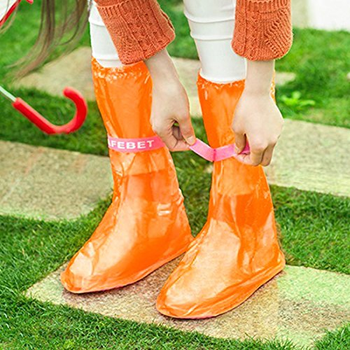 eDealMax 1 par rosa naranja reutilizables antideslizantes botas de lluvia zapatos Overshoes protector de la cubierta Tamaño S - - Amazon.com