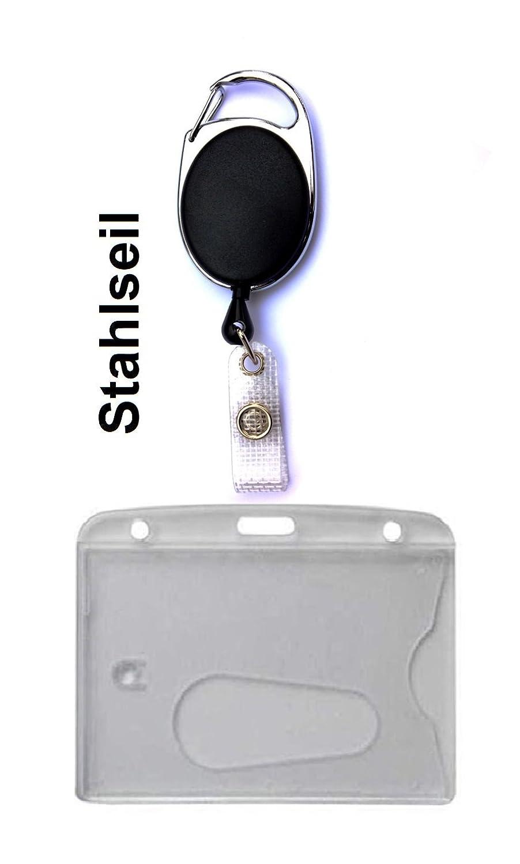 Kartenhalter Kartenh/ülle Ausweis H/ülle querformat horizontal GROSSE FARBAUSWAHL Umh/ängeband Schl/üsselband Lanyard 20mm mit Steckverschluss Waizmann.IDeaS 1x Ausweisset