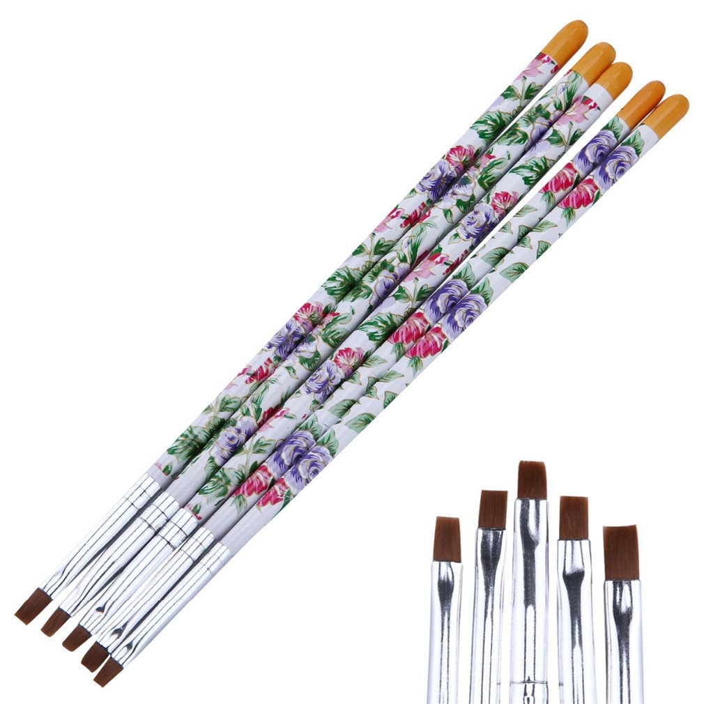 5Pcs Flower Pattern Nail Art Flat Top French Painting Drawing Brush Pen Manicure Tools Kit