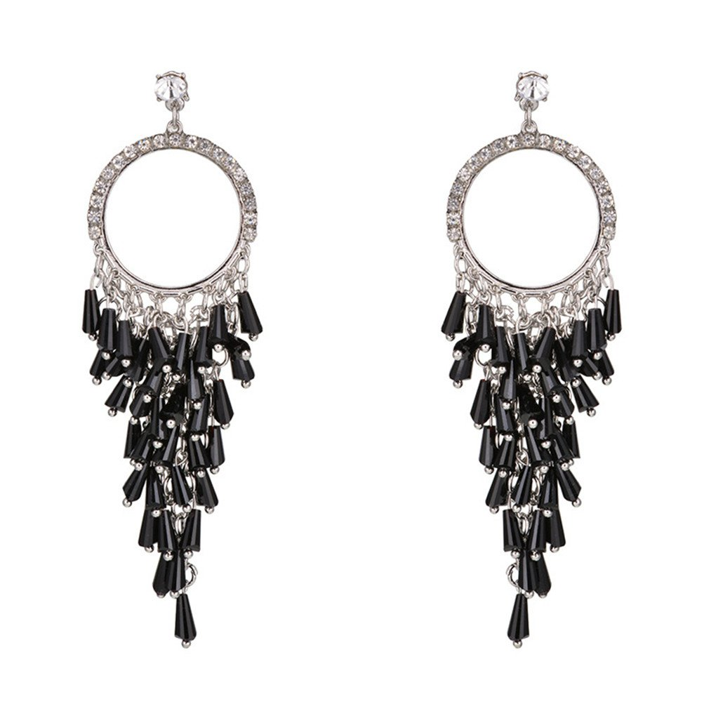 New Fashion Handmade Crystals Feather Tassels Statement Earrings For Women Gold Plated (L)