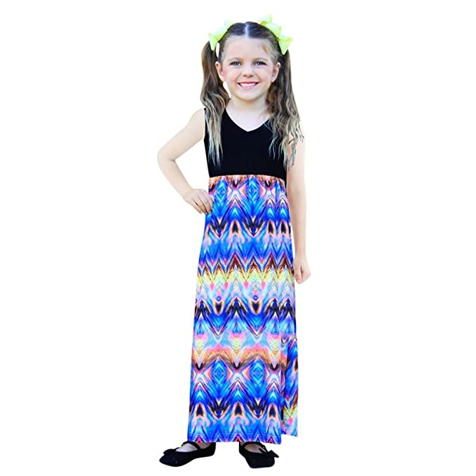 Longra Mädchen Kleider Baby Kinder Sommerkleid Lang Kleider High ...