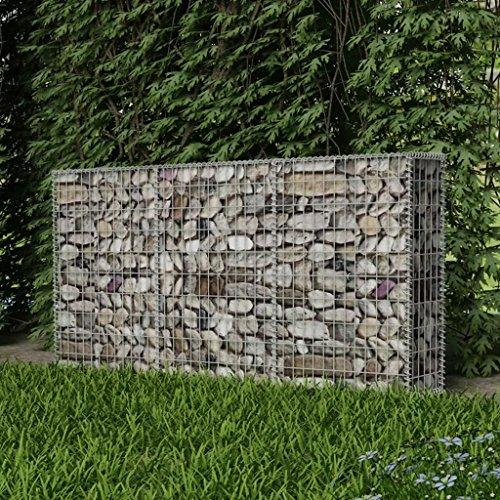 """Festnight Outdoor Garden Gabion Stone Basket,Steel Garden Decoration, Galvanized Steel 78.7"""" x 11.8"""" x 39.4"""""""