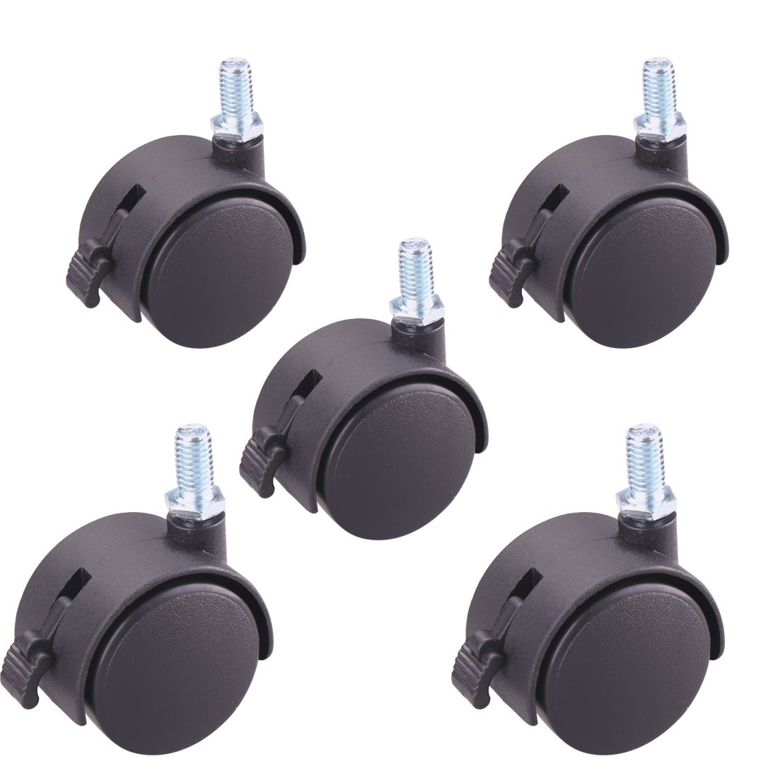 Copapa 2 Inch Black PlasticReplacement Office Chair Wheels Twin Wheel M10x15mm Threaded Stem Brake Swivel Nylon Casters 5pcs 2 Inch Brake M8x15mm Threaded Stem
