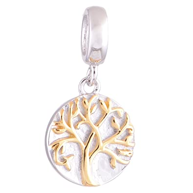 Globalwin Tree Of Life Dangle Charm Genuine 925 Sterling Silver Jewelry Charm Bead Fits Pandora Charms qfQLXdljk