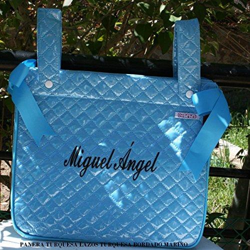 PRIMERAEDAD/Panera bolso para coche/silla bebé plastificado y personalizado con nombre, color turquesa