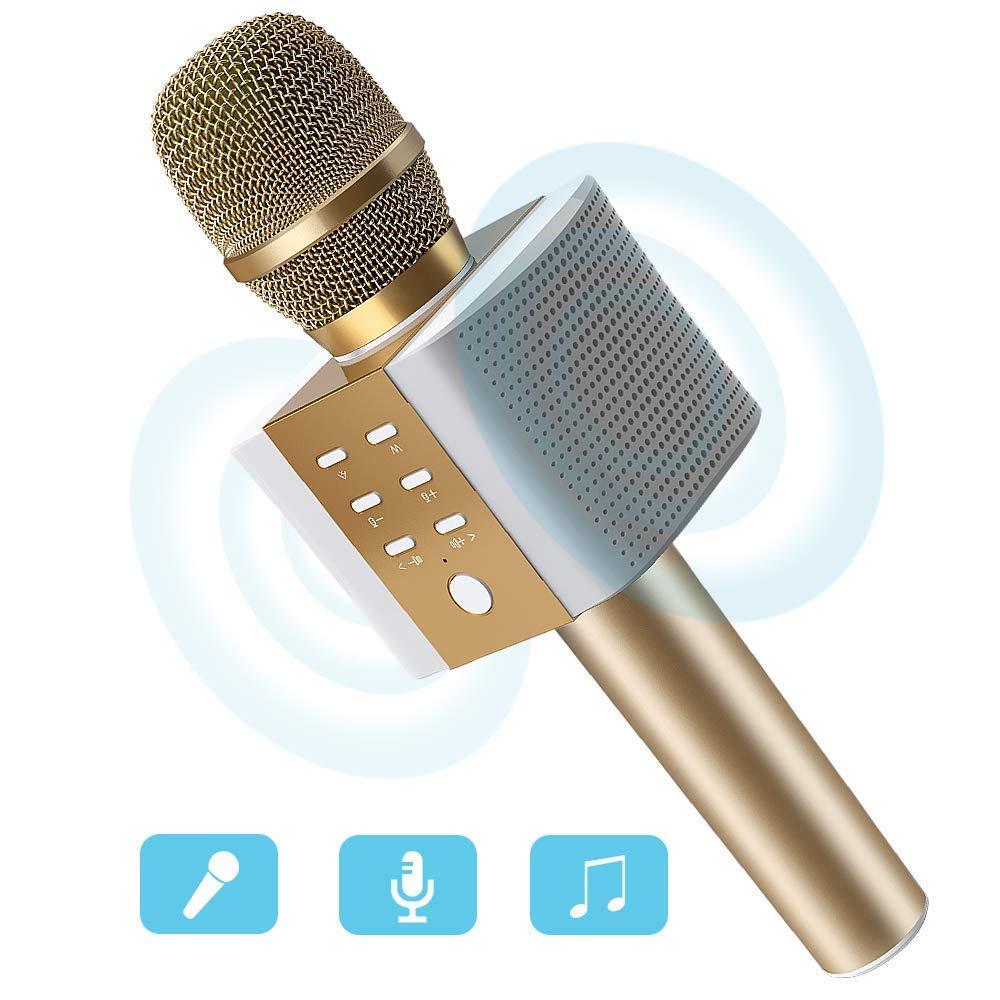 Karaoke Mikrofon, MODAR Karaoke Mikrophon Bluetooth 4.1 mit schönem Licht, kompatibel mit Android /IOS, PC, Ideal für Musik abspielen und singen (Sprach- und Gesangsaufnahmen), tragbares drahtloses Karaoke Mikrofon für Kinder, unterstützt 16GB TF Karte, Ro