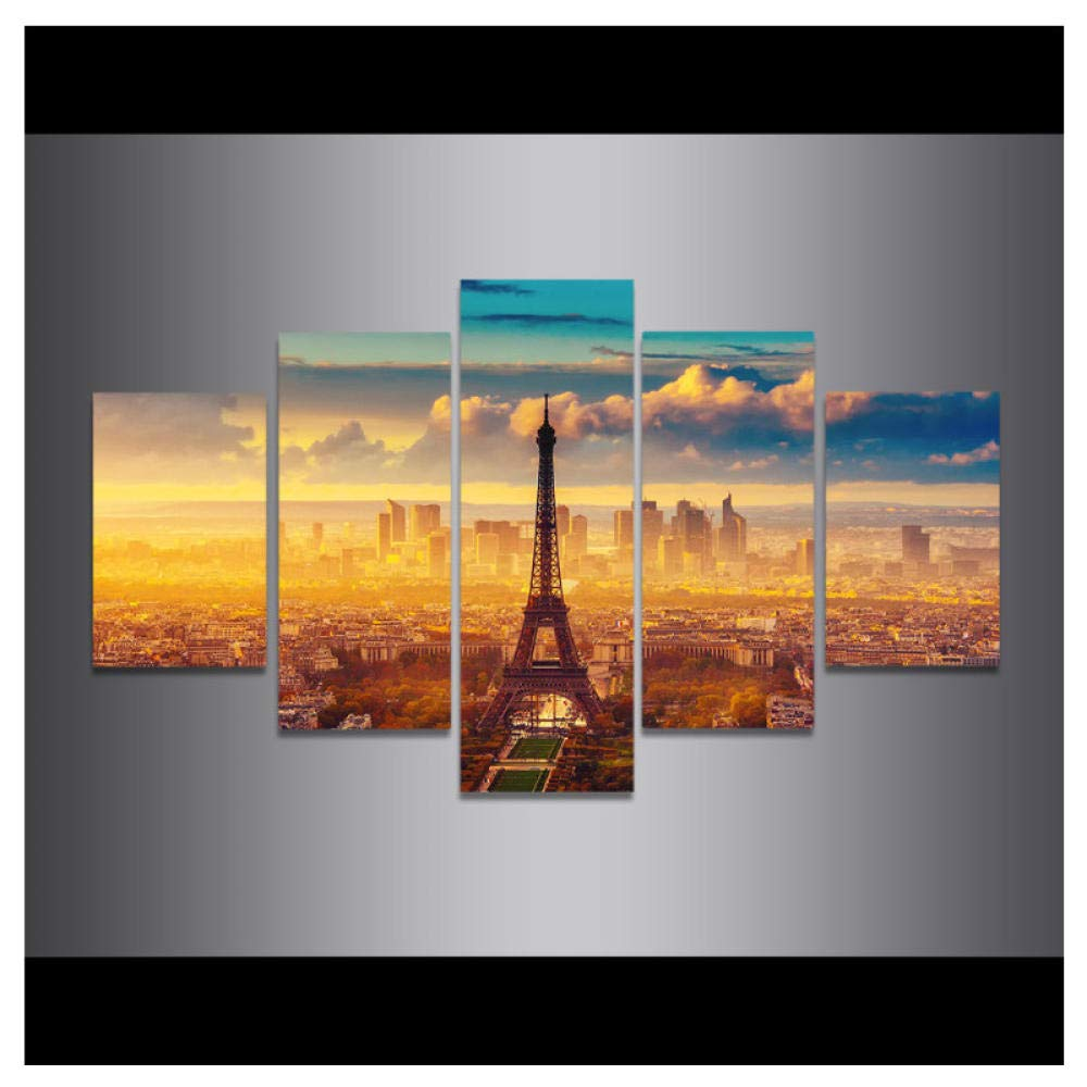 Wwjwf Watercolor Overlooking Paris Eiffel Tower Poster and Print Canvas Painting Pop Wall Art Pictures Home Decorations 30X40 30X60 30X80Cm No Frame