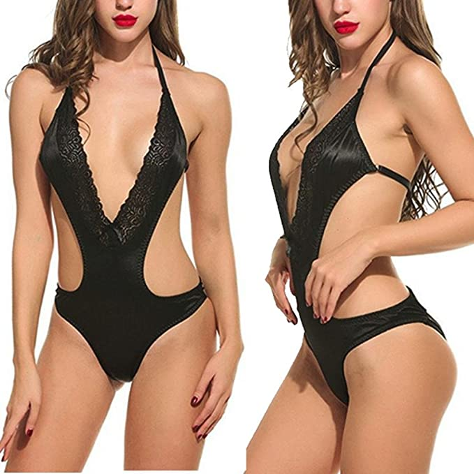 Amazon.com: HOT SALE! Womens Sexy Lingerie,Dainzuy Ladies Sleeveless Straps Lace Bodysuit Nightdress Siamese Sleepwear (M, Black): Home Audio & Theater