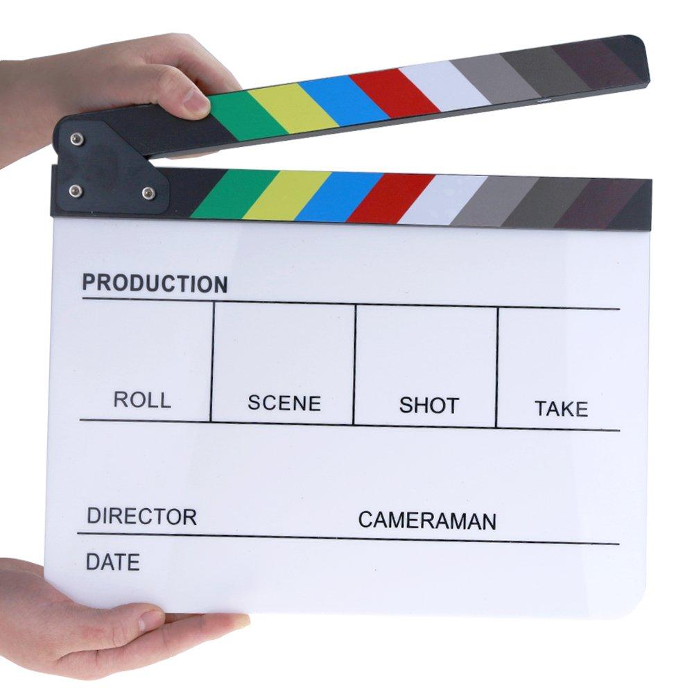 Hilitchi Acrylic Plastic Slate 25x30cm/10x12'' Dry Erase Director's Film Clapboard Cut Action Scene Clapper Board Slate with Color Sticks