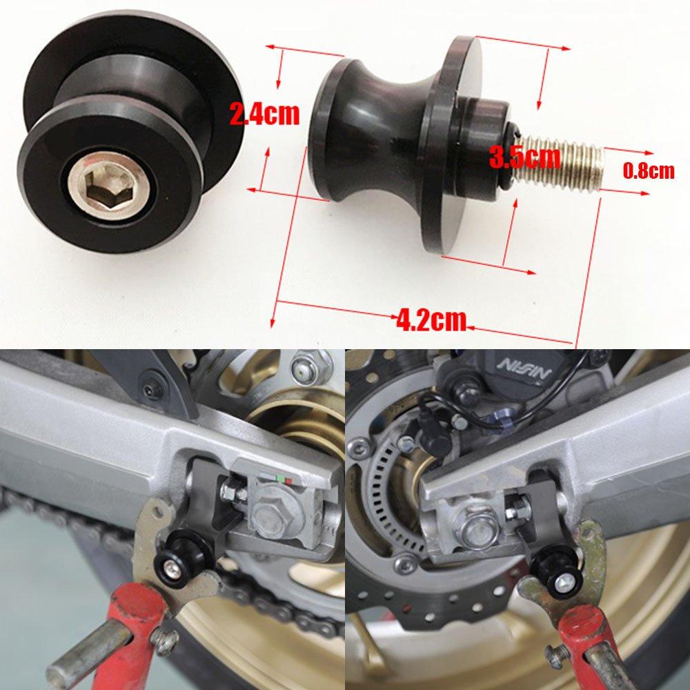 ViZe Diabolos Motorrad Stü tzschrauben Schwingspulen Stä nder Spulen fü r Kawasaki KTM Suzuki Honda Schwarz (10 mm) HV-SL-DM