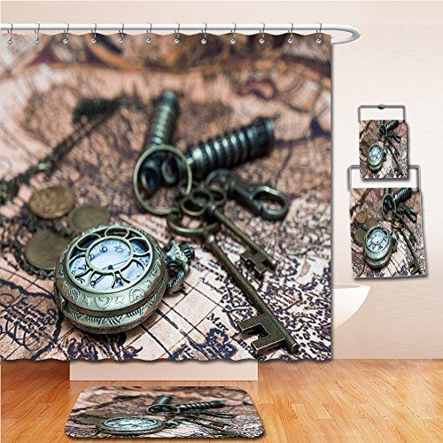 LiczHome Bath Suit: Showercurtain Bathrug Bathtowel Handtowel Classic Grunge Pocket Watch Clock, Skeleton Keys On Ancient World Map - World Clock Tray