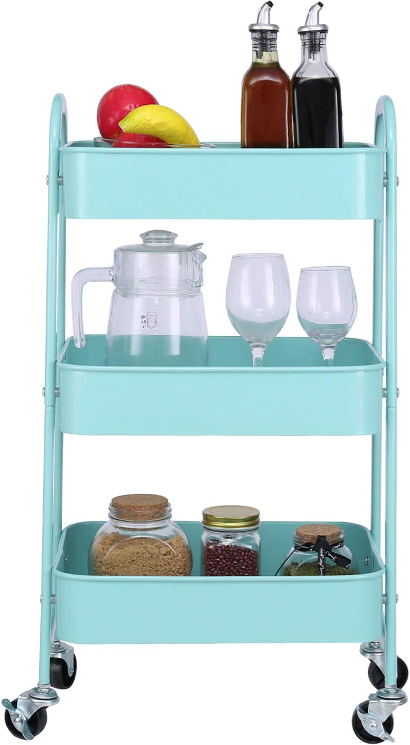 3-Tier Metal Mesh Utility Rolling Cart Storage Organizer with Wheels, Turquoise