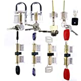 LSHI Practice Lock Set, Master Full Set 9 Pcs Transparent Locks Family for Players Practice (A)