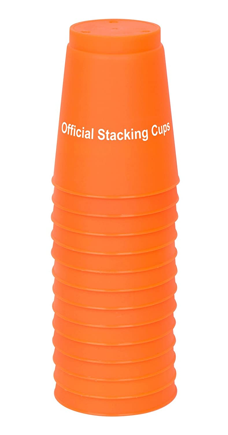 Set of 12 With Carry Bag By Trademark Innovations Large 3.5 x 4.4 Tall Quick Stack Cups Speed Training Sports Stacking Cups Orange