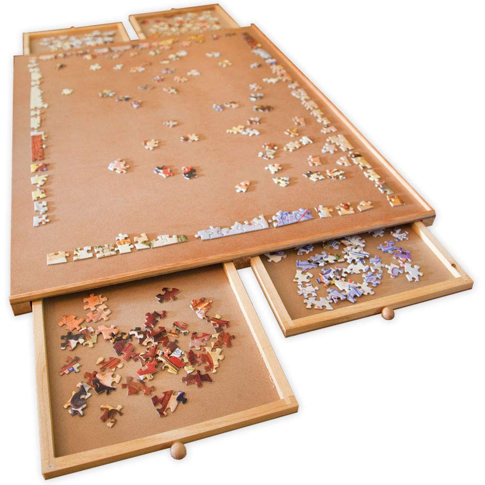 Bits and Pieces - Jumbo Size Wooden Puzzle Plateau-Smooth Fiberboard Work Surface - Four Sliding Drawers Complete This Puzzle Storage System