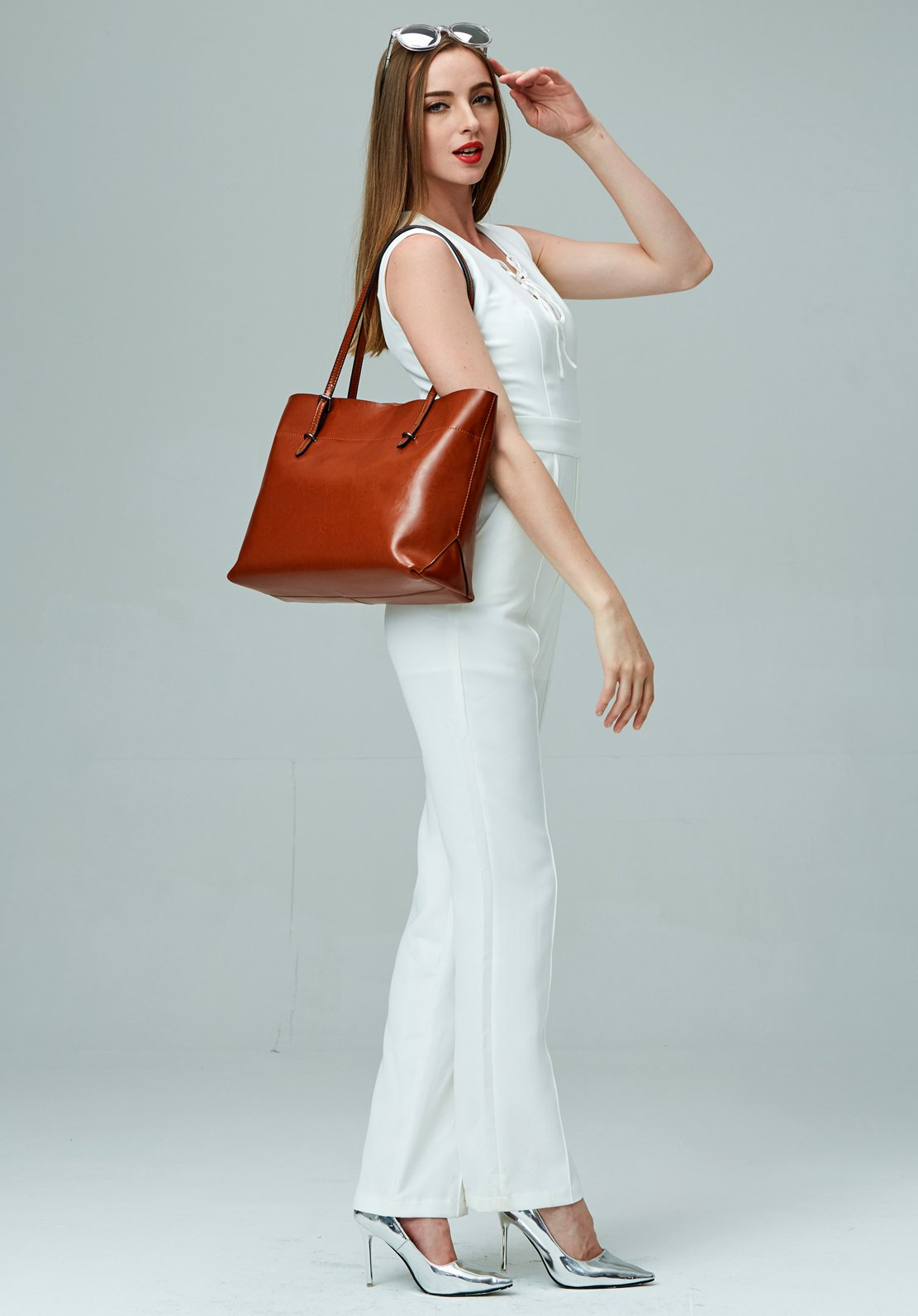 Covelin Women's Handbag Genuine Leather Tote Shoulder Bags Soft Hot Brown by Covelin (Image #7)