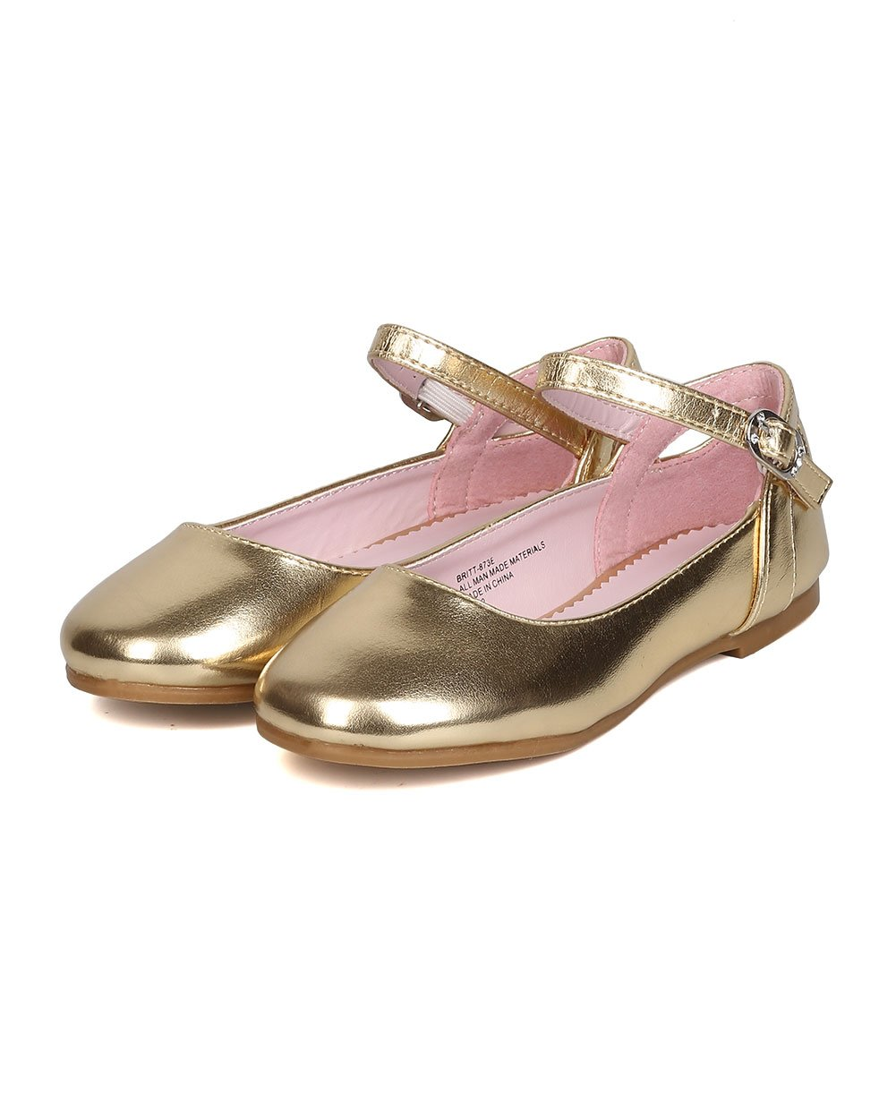Girls Metallic Leatherette Ankle Strap Cut Out Ballet Flat GB36 - Gold (Size: Toddler 8) by Little Angel (Image #5)