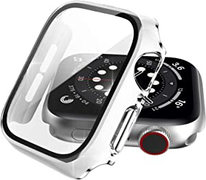 Choiche Compatible Apple Watch Case 42mm Series 3 / 2 / 1 with Screen Protector Accessories, White Defense Bumper with Silver Edge Designed Full Coverage Guard Cover for Women Men iWatch
