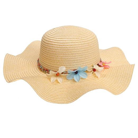 61bb788bc4075 Baoblaze Women Girls Beach Floppy Foldable Sun Hat Summer Wide Brim Straw Flower  Cap - Beige