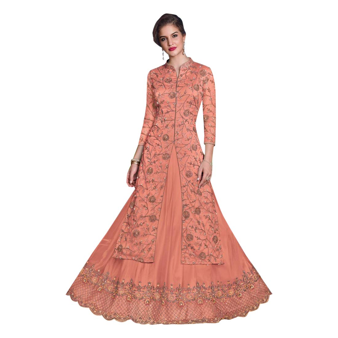 Peach Designer Party Skirt style Gown Salwar Kameez suit Dupatta for Women Ethnic Indian Muslim dress 7708