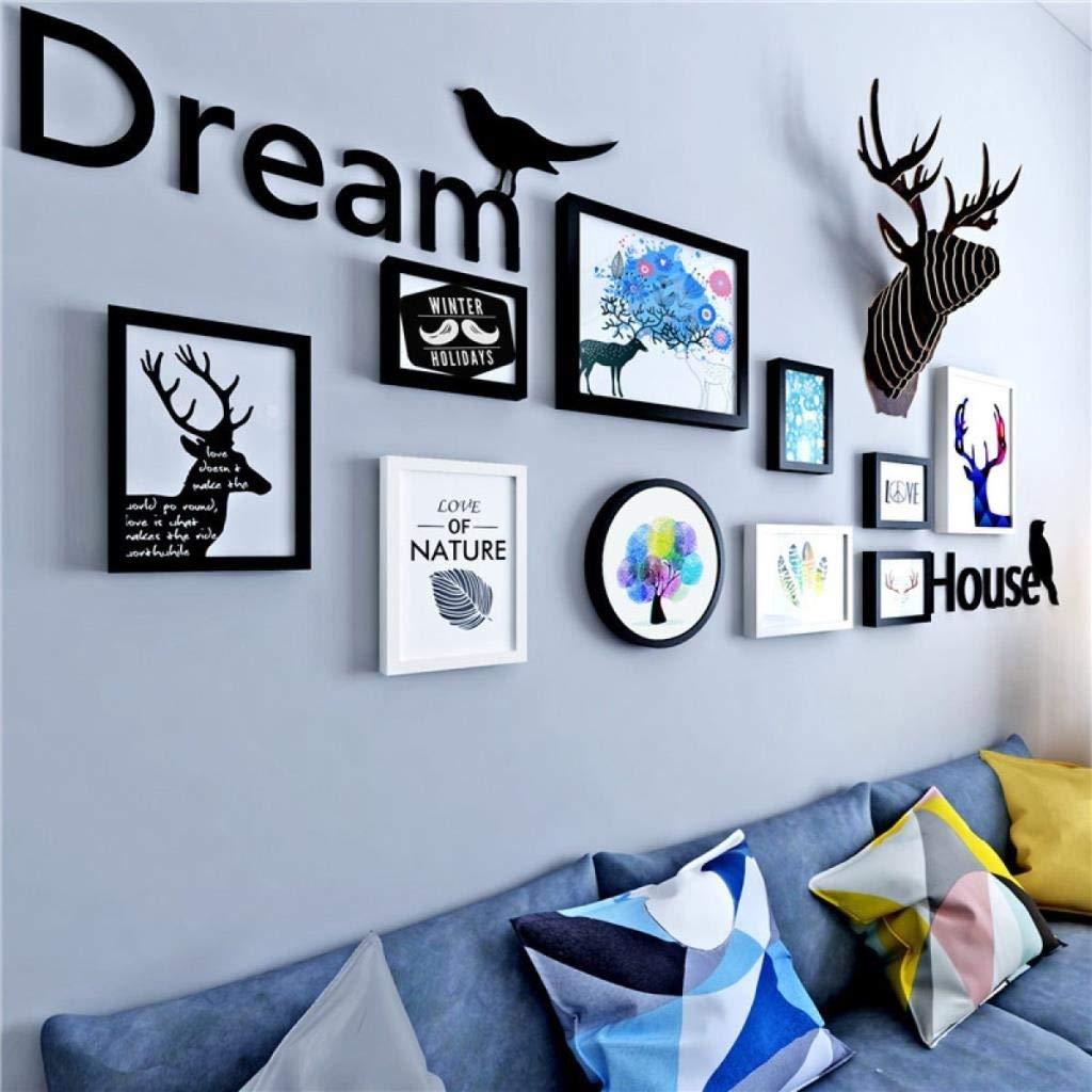 Jjek K Creative Photo Frame Photo Wall, Abstract Minimalist Pattern Wooden Painting Living Room Bedroom Photo Frame Combination Black and White Box 8pcs Deer Head Letter Wall Sticker