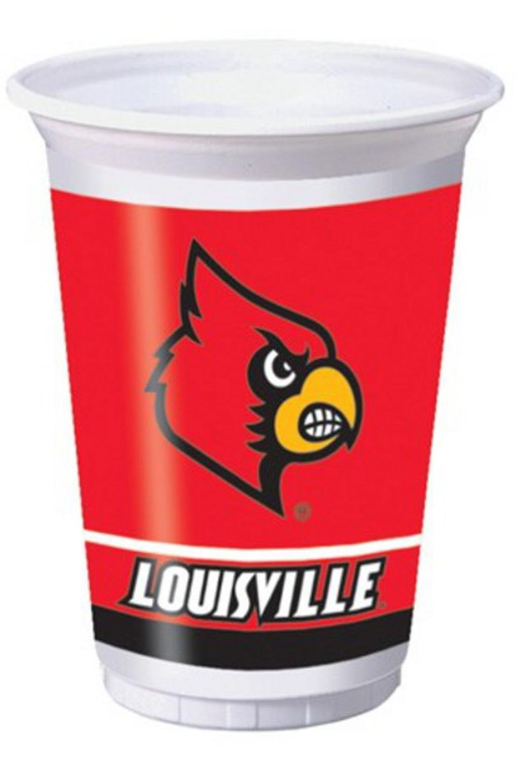 96 NCAA Louisville Cardinals Plastic Drinking Tailgate Party Cups - 20 Ounces
