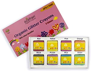 Azafran Organic Glitter Block Crayons Set of 8 - Long-Lasting, Instant Washable, Vegan and Waterproof Non-Toxic For Toddlers, Eco Friendly and Fun With Playing and Stacking - 120 Grams