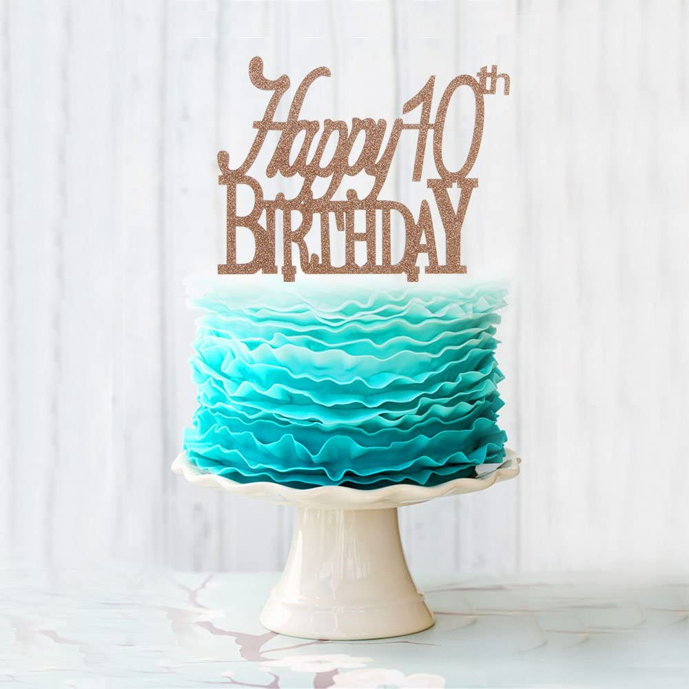 Excellent Amazon Com Happy 10Th Birthday Cake Topper Brown Acrylic Cake Funny Birthday Cards Online Barepcheapnameinfo