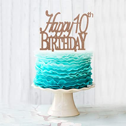 Stupendous Amazon Com Happy 10Th Birthday Cake Topper Brown Acrylic Cake Birthday Cards Printable Giouspongecafe Filternl