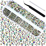 2016pcs 6 Sizes 1.5-6 mm Flat Back Gems Round Crystal Rhinestones with Pick Up Tweezer and Rhinestones Picking Pen for Crafts Nail Face Art Clothes Shoes Bags DIY (Colorful)