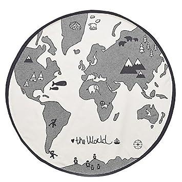 world map design round area rugs baby crawling mats baby nursery