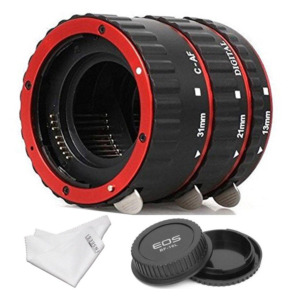 INSEESI Macro Lens Extension Tube+Lens Body and Rear Cap for Canon EOS EF Canon1D 1Ds Series 7D 5D 5DMarkII 5DMark III etc Lens