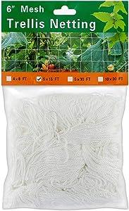 Monstake Vine Trellis Netting for Climbing Plant, Elegant Heavy-Duty Polyester Plant Climbing Square Mesh Net for Fruits and Vegetables, 5×15FT 1 Pack